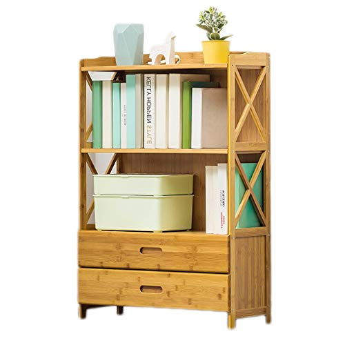 Stevige Houten Boekenkast, Storage Modern Bookshelf Multi-layer Half open Simple File Kasten met 2 laden en Veiligheid Backplane voor thuiskantoor,3 layers