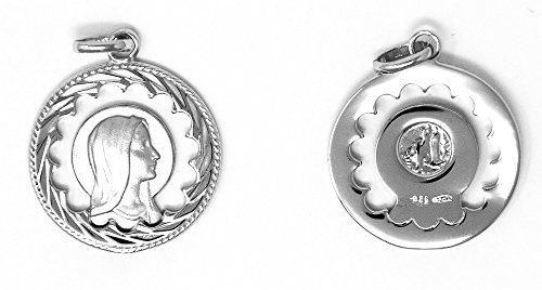 Catholic Gift Shop Ltd Hermoso Colgante de María Virgen 925 con Texto en Inglés Our Lady of Lourdes/Apparitions, medallas Católicas de Plata y Tarjetas de Felicitación