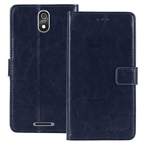 TienJueShi Dark Blau Retro Flip Stand Brief Leder Tasche Schütz Hülle Handy Handy Hülle Für TP-Link Neffos C7 Lite 5.45 inch Abdeckung Wallet Cover Etui