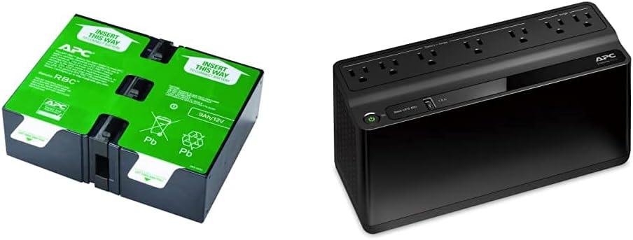 APC UPS Battery Replacement, APCRBC124, Black & UPS, 600VA UPS Battery Backup & Surge Protector, BE600M1 Backup Battery Power Supply, USB Charger, Back-UPS Series Uninterruptible Power Supply