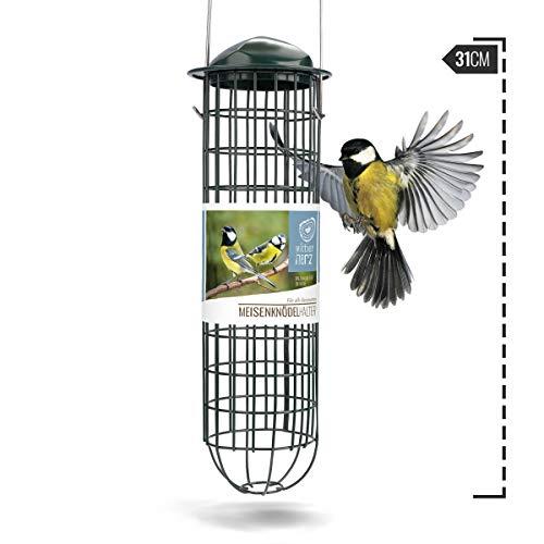 wildtier herz | Meisenknödelhalter 31cm aus rostfreiem Metall – 5 Jahre Garantie – Futterspender, Futterstation für Vögel zum Aufhängen, zur ganzjährigen Wildvögel Fütterung, Grün
