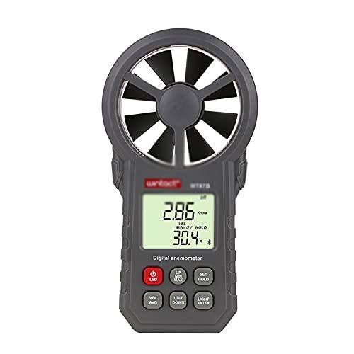 Windmesser Digitales Anemometer-Hand-Anemometer Zum Messen Von Windgeschwindigkeit Temperatur- Und Luftvolumen-LCD-Hintergrundbeleuchtung (Farbe : Grau, Size : 16.5x8.5x3.9cm)