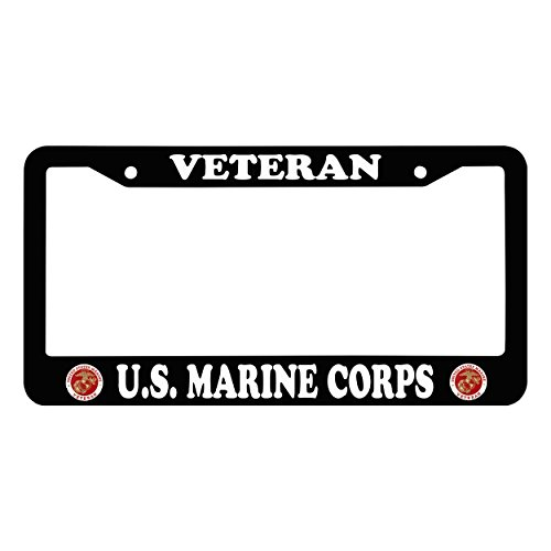Chawuux U.S. MARINE CORPS VETERAN Waterproof License Plate Frame With Logo Auto Car License Plate Frame, Black Funny Matte License Frame With Matching Screw Caps
