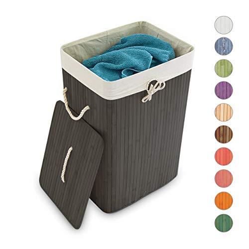Relaxdays Wäschekorb Bambus, mit Deckel, rechteckig, 83 L, Faltbarer Wäschesammler, HBT: 65,5 x 43,5 x 33,5 cm, schwarz