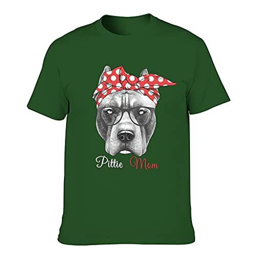 T-Shirt Hund MOM 3D-Druck Verschiedene Typen Kurzärmliges T-Shirt Rundhals T-Shirt s für Jungen und Mädchen Pitbull Dark green001 M