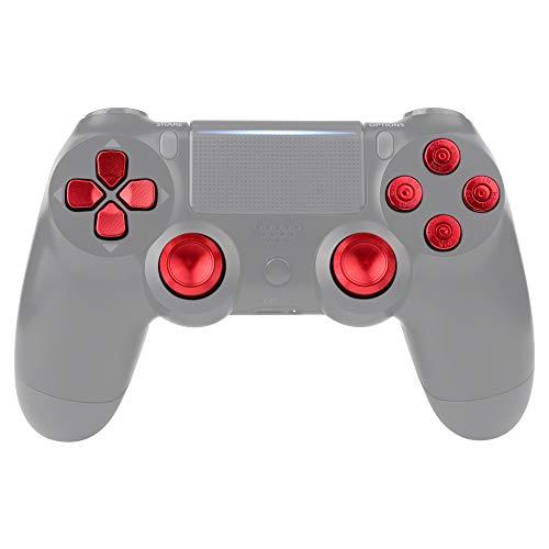 eXtremeRate Knöpfe Thumbsticks D-Pad Steuerkreuz aus Aluminium für Playstation 4 für PS4 Slim Pro Controller,Bundle Munition Thumbsticks Bullets Tasten Kappen Zubehör(Rot)