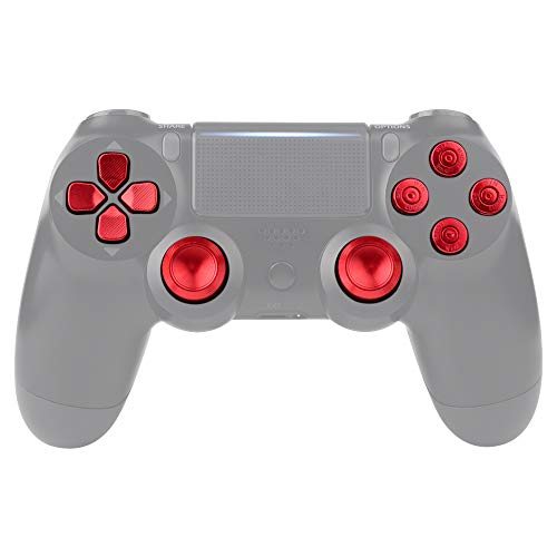 eXtremeRate Button Thumbsticks D-Pad Steuerkreuz aus Aluminium für Playstation 4/PS4 Slim/PS4 Pro Controller,Bundle Munition Thumbsticks Bullets Tasten Kappen Zubehör(Rot)