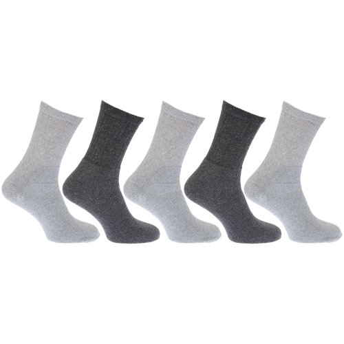 Textiles Universels Chaussettes de sport (5 paires) - Homme (EUR 39-45) (Gris)