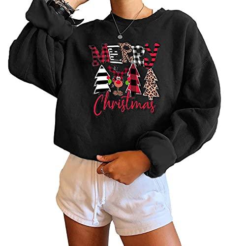 Eghunooze - Felpa casual da donna, con stampa a farfalla, girocollo, a maniche lunghe, per Natale, Nero , XXL