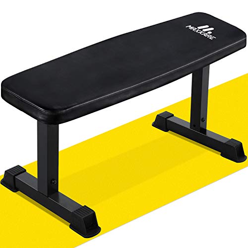 MaxKare Flat Weight Bench 600 LBS Capacity 42x18.5x19'' Workout Exercise Fitness Bench Thick Backrest Cushion for Home Gym Strength Training