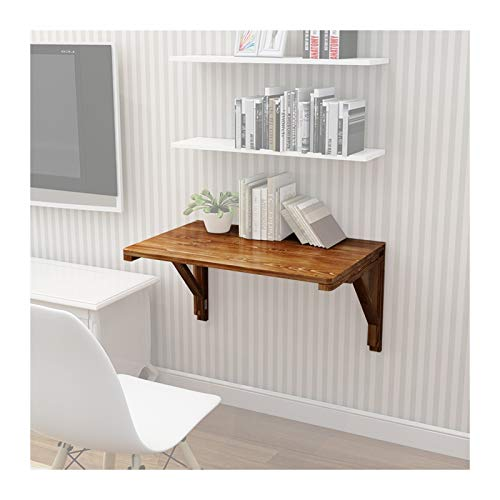 Mesa Plegable Pared Portátil Ordenador, Tablero Madera Maciza Color Carbonizado, Estantería Simple para Sala Estar Escritorio Estudio, Múltiples Tamaños PENGFEI (Color : A, Size : 80cmx40cm)