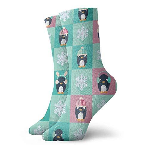 Bert-Collins MenAndWomen Infantil Pingüinos y copos de nieve Novedad Calcetines deportivos Calcetines largos clásicos