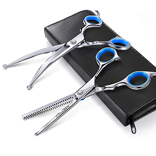 Gimars Round Tips Dog Grooming Scissors Set, Heavy Duty Titanium Coated Stainless Steel Pet Grooming Trimmer Kit - Perfect Thinning, Curved Shears for Long Short Hair, Large Small Dogs Cat Other Pets