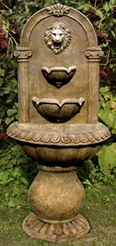 Casa Padrino Barock Wandbrunnen Löwe 45 x H. 103 cm - Kunststein Gartenbrunnen im Barockstil, Farbe:antik braun