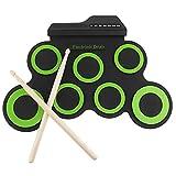 Yongqin Almohadilla De Batería Electrónica Portátil De Silicona Electrónica Usb Digital 7 Almohadillas Roll Up Set Kit De Batería Eléctrica Verde Con Baquetas Y Pedal De Sostenido