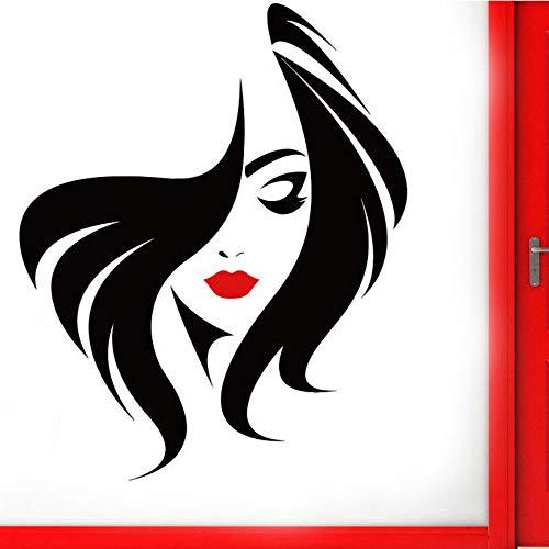 Etiqueta De La Pared Peluquería Peinado Pared De Cristal Puerta Ventana Vinilo Pegatina Salón De Belleza Cara De Mujer Con Labio Rojo Tatuajes De Pared Murales Diy 42X52 Cm