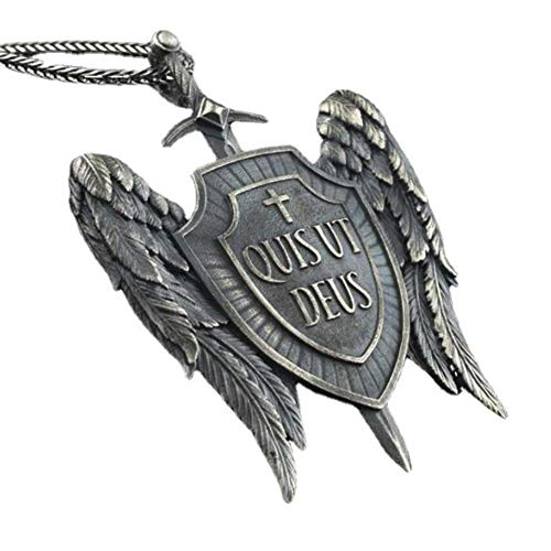 NDYD Hombre Mujer Pure Angel Protección Ángel Guardián Saint Michael Vintage Amuleto Shield Protector Pendiente Pendiente Banda De Regalo De Joyería Única 60 Cm Cadena