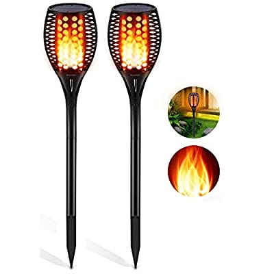 Aityvert Solar Lights Outdoor, Waterproof Flickering Flame Solar Torch Lights Dancing Flame Lights Landscape Decoration Lighting Dusk to Dawn Auto On/Off Security Path Lights for Patio Deck 2 Packs