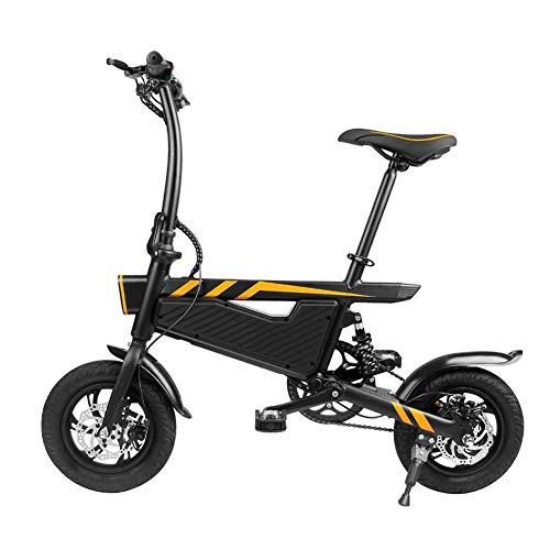 WM Bicicleta eléctrica para Adultos 12 Pulgadas Plegable portátil Mini Potencia asistida Bicicleta eléctrica 250w Motor Doble Freno de Disco