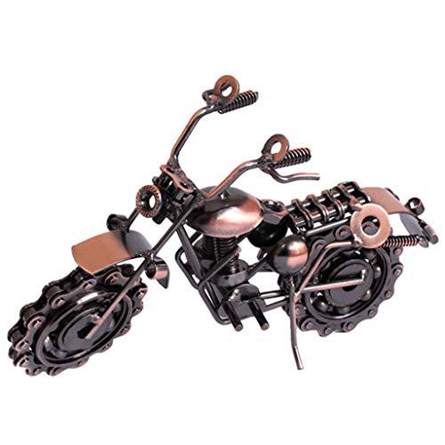 NKDD Hierro Forjado galvanoplastia Motocicleta Mini Cadena Modelo de Motocicleta Adorno de decoración Modelo de Motocicleta marrón