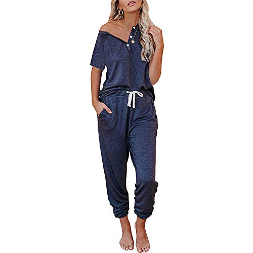 Loalirando Conjunto deportivo para mujer de verano, camiseta de manga corta + pantalones deportivos de cintura alta azul oscuro M