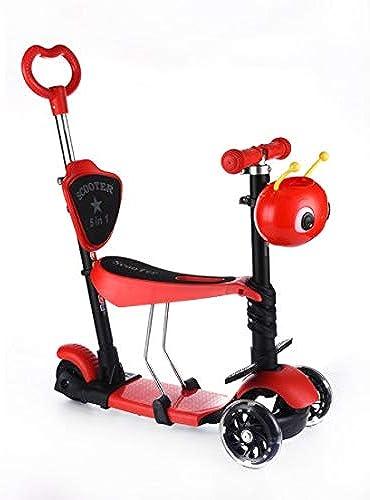 DMMW Scooter Multifonctionnel Scintillant pour Enfants avec Trois Roues et Scooter Glissant Cinq en Un ( Couleur   rouge )