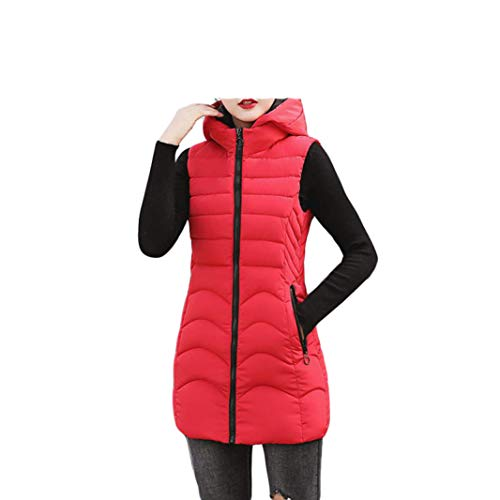 LVYING Women's Long Puffer Hooded Down Vest Zipper Quilted Cotton Padded Stand Collar Thickened Outwear Jacket