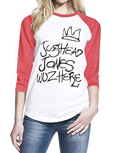 Wearuz Jughead Jones Wuz Here Teen - Camiseta de béisbol para Mujer - Blanco - X-Large