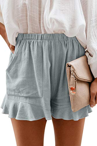 NEYOUQE teen girl clothes trendy aesthetic pants for teen girls trendy ruffle shorts women short junior outfit ideas women shorts with pockets for women aesthetic skirts clothes overalls shorts Gray M