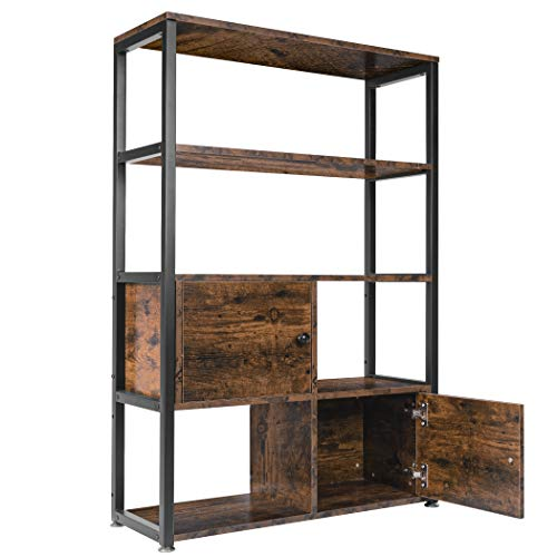 Becko Rustic Storage Cabinet Storage Rack with Shelves Multipurpose Cabinet with Open Shelf for Kitchen, Living Room, Bedroom,Bathroom. - Rustic Brown
