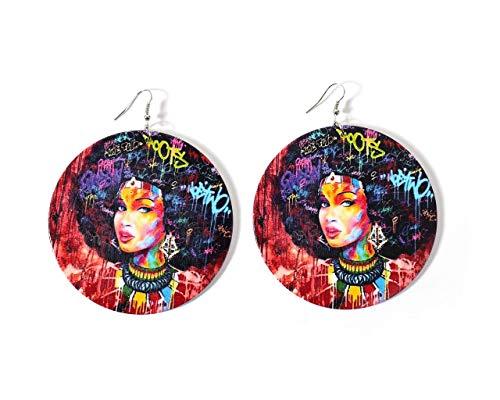 Graffiti Style African Woman Large Round Women's Wood Dangle Earrings