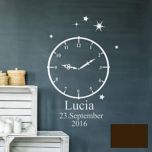 Wandtattoo Geburt Geburtszeit Uhr Wunschdaten Geburtsdaten Name Sterne M2460 - ausgewählte Farbe: *Schokolade* ausgewählte Größe: *L - 42cm hoch x 26cm breit*