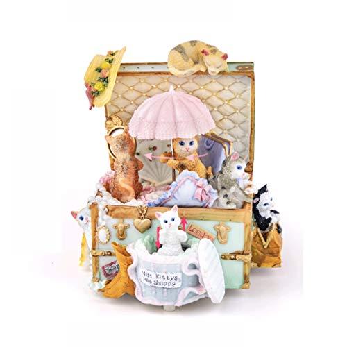 Accesorios decorativos Forma del gato caja de música caja de música creativa del regalo de la caja de música regalo romántico giratoria paraguas Caja de música ( Color : Castle in the Sky )