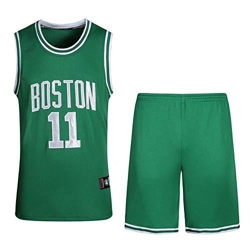 Mingui Trading Men Basketball Jerseys Set - NBA Celtics 11# Irving Basketball Uniform Summer Embroidered Shirt Vest Shorts