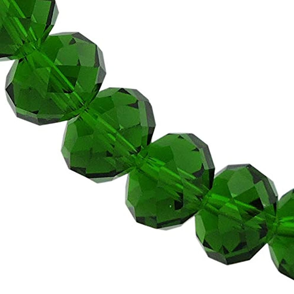 12MM Emerald Glass Crystal Beads Faceted Rondelle Shape Beads for Jewelry DIY or Making & Design (12MM, GB-1010)