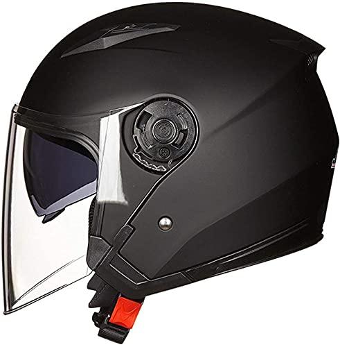YUnZhonghe 3/4 Open Face Motoccycle Helmet Motorbike Retro Hombres Mujeres Medio Casco Dot/ECE Aprobado Casco de Verano con Doble Sol Visera para Street Chopper Skateboard Class Cascal