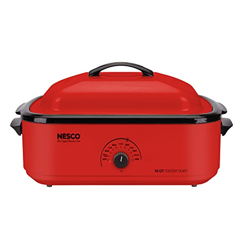 Nesco 4818-12 18-Quart Roaster Oven With Porcelain Cookwell - Red