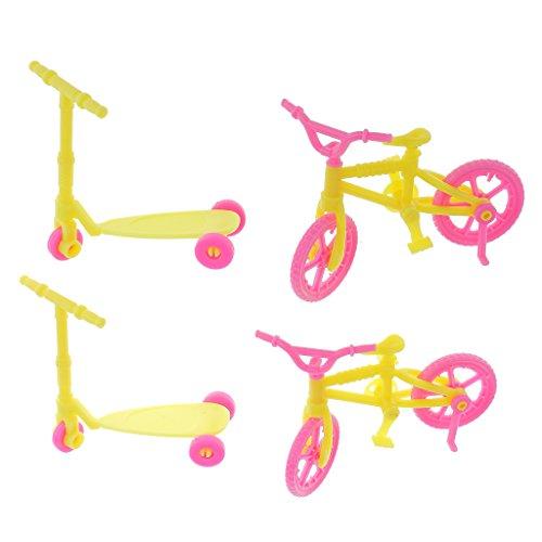 sharprepublic Bicicleta de Plástico de 2 Piezas Y 2 Piezas de Scooter de Juguete para Muñecas Kelly