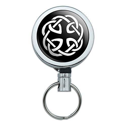 All Metal Retractable Reel ID Badge Key Card Holder with Belt Clip Symbols - Celtic Knot