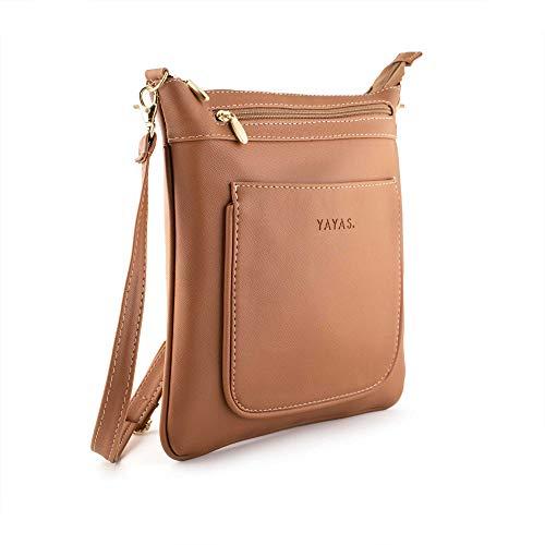 Crossbody Travel - Color Camel - Bolsa de Mano - Bolso Cruzado para Mujer - Cuenta con 5 bolsas secretas para guardas tus pertenencias.