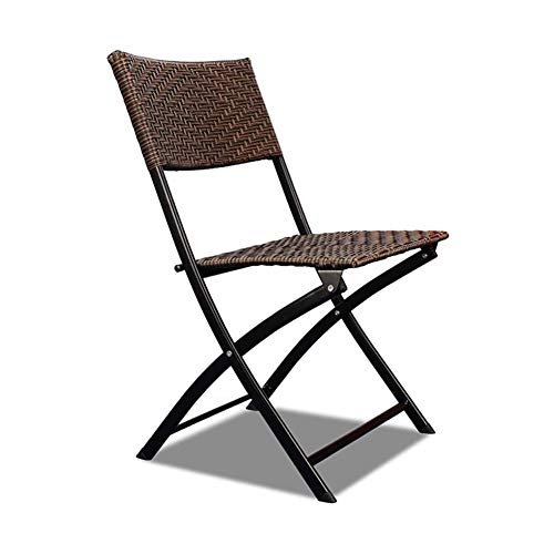 zyy Patio sillas Plegables al Aire Libre Muebles de jardín Silla de Mimbre Silla Plegable Bistro Cubierta All Weather jardín de Mimbre Silla Plegable sillas apilables,A