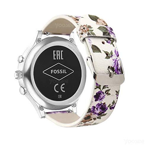YOOSIDE for Fossil Damen Venture Armband,18mm Schnellverschluss Leder Replacement Uhrenarmbänder Wechselarmband für Fossil Damen Venture 3/4/HR 4,Ticwatch C2 Rose Gold (Lila Blume)