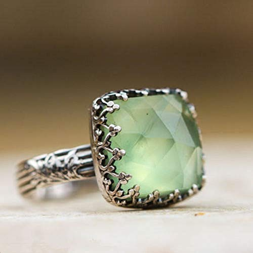 Wenbin Vintage Green Moonstone Princess Diamond Ring Prehnite Gems Wedding Engagement Women Ring 925 Silver Jewelry Size 6-10 (Size 10)