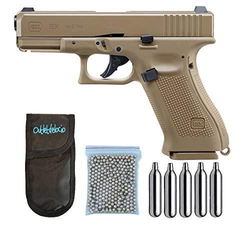 Outletdelocio.. Pistola perdigon Umarex Glock 19X Co2 4,5mm. Blowback. + Funda Portabombonas + Balines + Bombonas co2. 23054/29318/13275
