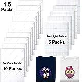 15 Pièces Papier de Transfert de Chaleur pour Tissus Foncés et Clairs Imprimés Papier de Transfert de Tissu Imprimante à Jet d'Encre Repasser sur HTV pour Accessoires de Sac de T-Shirt, Format A4