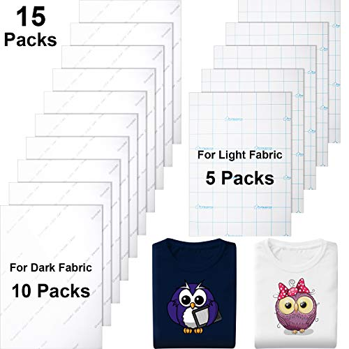 15 Pieces Heat Transfer Paper for Dark and Light Fabrics Printed Fabric Transfer Paper Inkjet Printer Iron on HTV for T-Shirt Bag Accessories, A4 Size