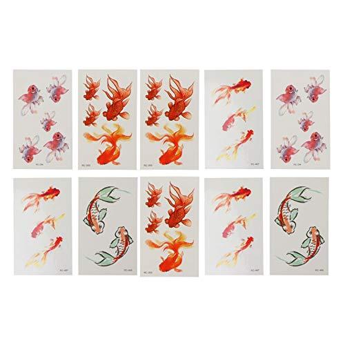 10 Blatt 3D Vivid Goldfish Tattoos Aufkleber Koi Teich Malerei Harz Schmuck Handwerk