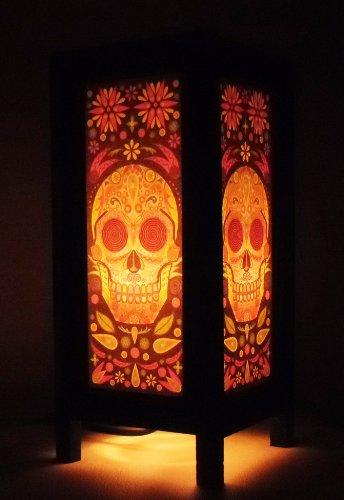Thai Vintage Handmade Asian Oriental Fantasy Skull Bedside Table Light or Floor Wood Paper Lamp Shades Home Bedroom Garden Decor Modern Design from Thailand by The Promise Thai Lanna Lamp
