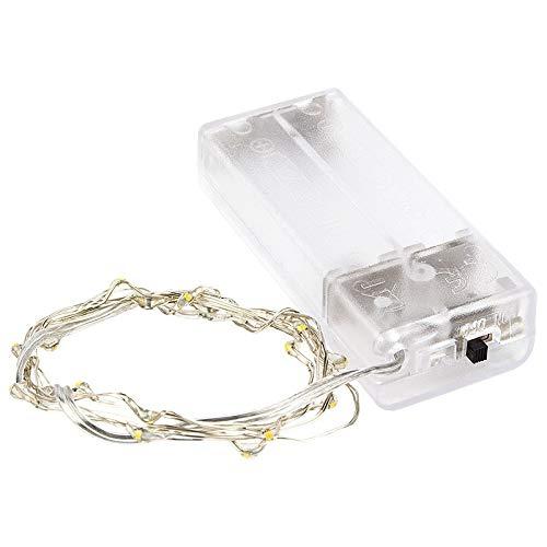 20er LED-Draht-Lichterkette, micro LEDs, wasserfest, warmweiß, batteriebetrieben, 105 cm lang