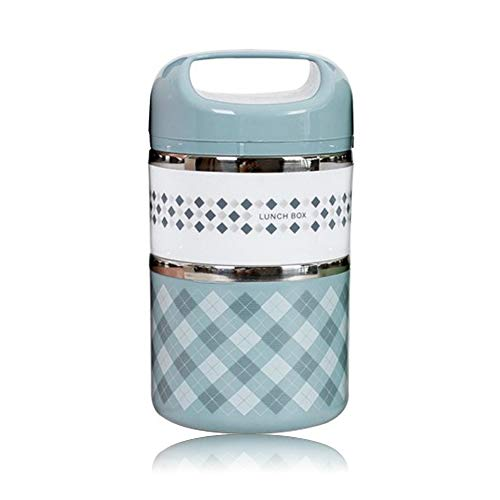 N/D Yisika Lonchera de Acero Inoxidable Lonchera con 2 Capas Cajas Bento a Prueba de Fugas para niños Adultos Portátil Fiambrera Lunch Box para Escuela Oficina Picnic(900ml)